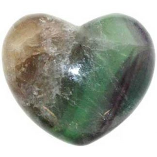 fluorite heart, heart stone, worry stone, stone heart, green and purple