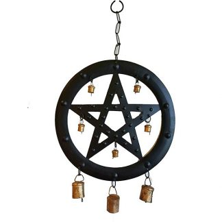 "9 1/2"" Black Pentagram Wind Chime"