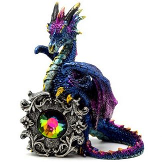 """Dragon Statue with multi-colored Crystal (5 1/4"""")"""