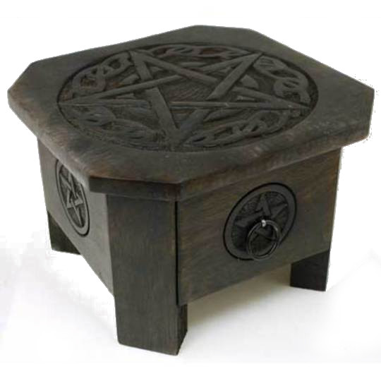 Celtic pentagram altar table with deep drawer. Dark wood. Pentagrams on top and sides are surrounded by Celtic-style designs.