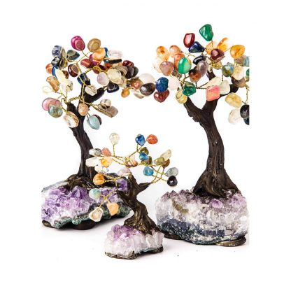 Small & Large Multi-Gemstone & Amethyst Bonsai Tree's