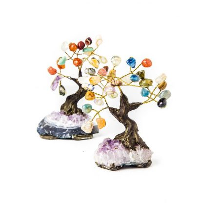 Small Multi-Gemstone & Amethyst Bonsai Tree's