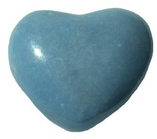 stone heart, worry stone, angelite heart stone