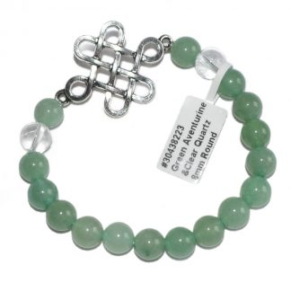 green aventurine and clear quartz bracelet with endless knot charm