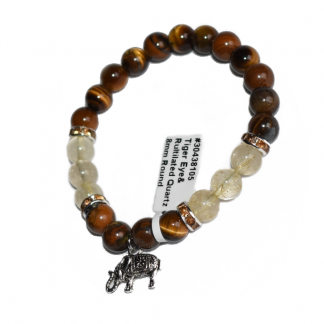 tiger eye and rutilated quartz bracelet with elephant charm, elephant bracelet, tiger eye