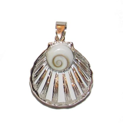 Sterling silver pendant with shiva eye shell.